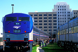 Amtrak train arriving in Galveston Texas