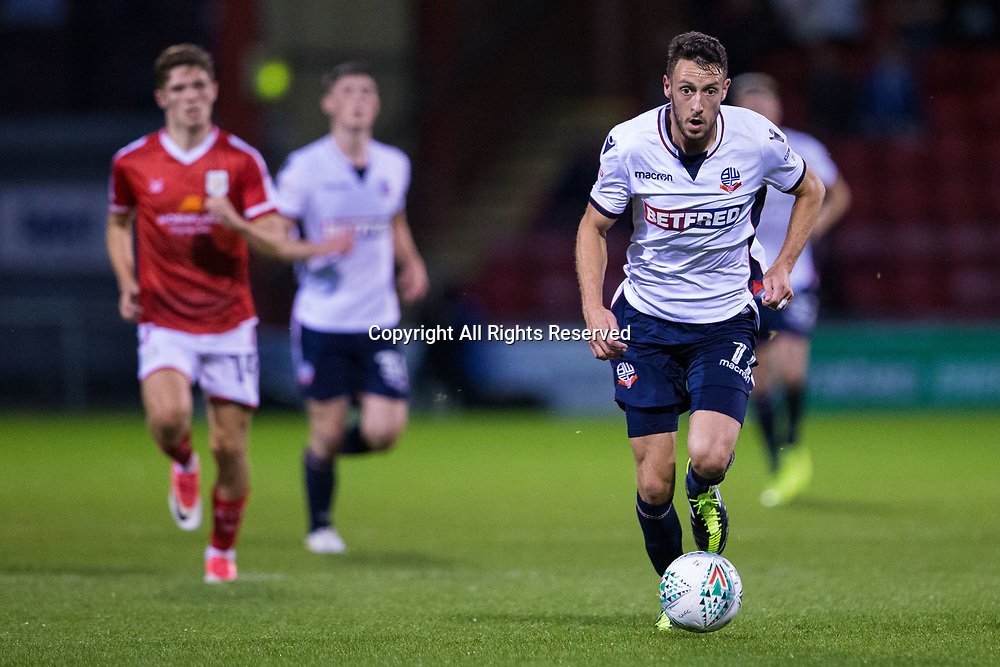 August 9th 2017, Gresty Road, Crewe, England; Carabao Cup First Round; Crewe Alexandra versus Bolton; Bolton Wanderers' Will Buckley with his eye on the ball