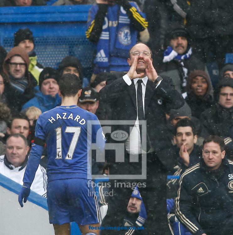 Picture by Andrew Tobin/Focus Images Ltd +44 7710 761829.20/01/2013. Chelsea manager Rafa Benitez shouts to his team as Eden Hazard of Chelsea is substituted during the Barclays Premier League match at Stamford Bridge, London.