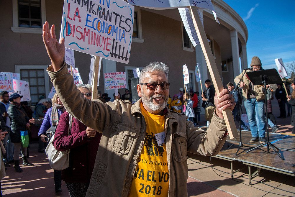 em012918d/a/Lorenzo Jijon, from Gallup, takes part in an immigrants' rights rally outside the State Capitol in Santa Fe,  Monday  January 29, 2018. Around 150 people attended the rally organized by Somos Un Pueblo Unido, an immigrants' rights group. (Eddie Moore/Albuquerque Journal)