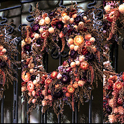 Known as either a Fall, Autumn or Thanksgiving Wreath with decorations on front door in Greenwich Village.