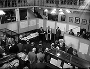 12/09/1961<br /> 09/12/1961<br /> 12 September 1961<br /> John Lighton Synge President of the Royal Irish Academy and Taoiseach Sean Lemass at the Opening of the O'Donovan -O'Curry Public exhibition of works at the R.I.A., Dawson Street Dublin. John O'Donovan and Eugene O'Curry were noted scholars of the Irish language in the 19t century and conducted extensive research for the Ordinance Survey Office on Irish place names.