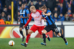 February 14, 2019 - Brugge, BELGIUM - Salzburg's Xaver Schlager and Club's Mats Rits fight for the ball during a soccer game between Belgian team Club Brugge KV and Austrian club FC Red Bull Salzburg, the first leg of the 1/16 finals (round of 32) in the Europa League competition, Thursday 14 February 2019 in Brugge. BELGA PHOTO KURT DESPLENTER (Credit Image: © Kurt Desplenter/Belga via ZUMA Press)