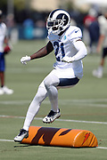 Los Angeles Rams defensive back Kayvon Webster (21) jumps over a piece of equipment as he runs a drill during the Los Angeles Rams NFL football training camp practice on Saturday, July 29, 2017 in Irvine, Calif. (©Paul Anthony Spinelli)