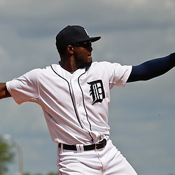 March 14, 2012; Lakeland, FL, USA; Detroit Tigers third baseman Audy Ciriaco (65) during a spring training game against the New York Mets at Joker Marchant Stadium. Mandatory Credit: Derick E. Hingle-US PRESSWIRE