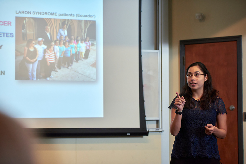 """Silvana Duran Ortiz, a Doctoral Student studying Molecular and Cell Biology in the College of Arts and Sciences presents her thesis entitled """"Can we extend life- and health-span by decreasing Growth hormone action?""""."""