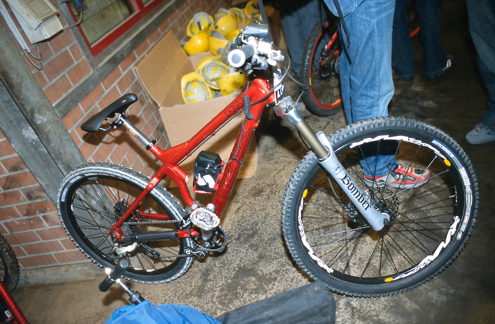 Anne Caroline Chausson's Commencal Pasta hardtail race bike. Red Bull Race Down. Germany 2003