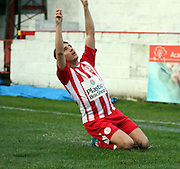 Accrington Stanley midfielder Sean McConville celebrates scoring during the The FA Cup match between Accrington Stanley and York City at the Fraser Eagle Stadium, Accrington, England on 7 November 2015. Photo by Pete Burns.