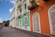 Historic traditional homes along Calle Recinto Sur Old San Juan, Puerto Rico.