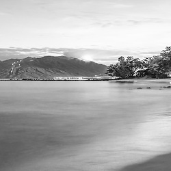 Maui Hawaii sunrise black and white panorama photo in Wailea Makena  with Ulua Beach, Ulua Beach Park, Maalaea Bay and the Pacific Ocean. Copyright ⓒ 2019 Paul Velgos with All Rights Reserved.