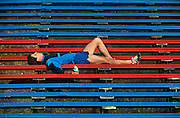 Exhausted runner after a hard training session.