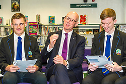 Pictured: Mr Swinney celebrates Callum Brown and Alistair Hampton's results<br /> <br /> <br /> Education Secretary  John Swinney visited Firrhill School today and met students and parents as the results were available for opening.<br /> <br /> <br /> Ger Harley | EEm 7 August 2018
