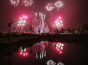 SHANGHAI, CHINA - MAY 25: (CHINA OUT) <br /> <br /> Fireworks light up the Enchanted Storybook Castle as a shining symbol of Shanghai Disneyland on May 25, 2016 in Shanghai, China. The Shanghai Disneyland has been on a trial operation for half a month and another fireworks and 3D light show rehearsal performed on Tuesday night for its upcoming grant opening which will fall on June 16.<br /> ©Exclusivepix Media