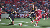Ottawa Fury FC defender Marcel De Jong (#30) shoots at goal during the NASL match between the Ottawa Fury FC and Fort Lauderdale Strikers at TD Place Stadium in Ottawa, ON. Canada on May 27, 2016. <br /> <br /> PHOTO: Steve Kingsman/Freestyle Photography