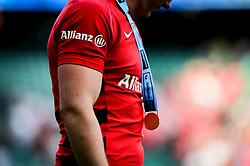 A Gallagher Premiership Rugby Final winners medal around a Saracens players neck after the final whistle of the match - Mandatory by-line: Ryan Hiscott/JMP - 01/06/2019 - RUGBY - Twickenham Stadium - London, England - Exeter Chiefs v Saracens - Gallagher Premiership Rugby Final