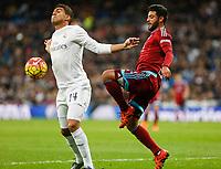 Real Madrid´s Casemiro (L) and Real Sociedad´s Carlos Vela during La Liga match between Real Madrid and Real Sociedad at Santiago Bernabeu stadium in Madrid, Spain. December 30, 2015. (ALTERPHOTOS/Victor Blanco)