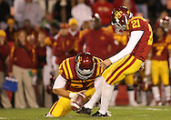 25 OCTOBER 2008: Iowa State kicker Grant Mahoney (21) kicks a field goal in the first half of an NCAA college football game between Iowa State and Texas A&M, at Jack Trice Stadium in Ames, Iowa on Saturday Oct. 25, 2008. Texas A&M beat Iowa State 49-35.