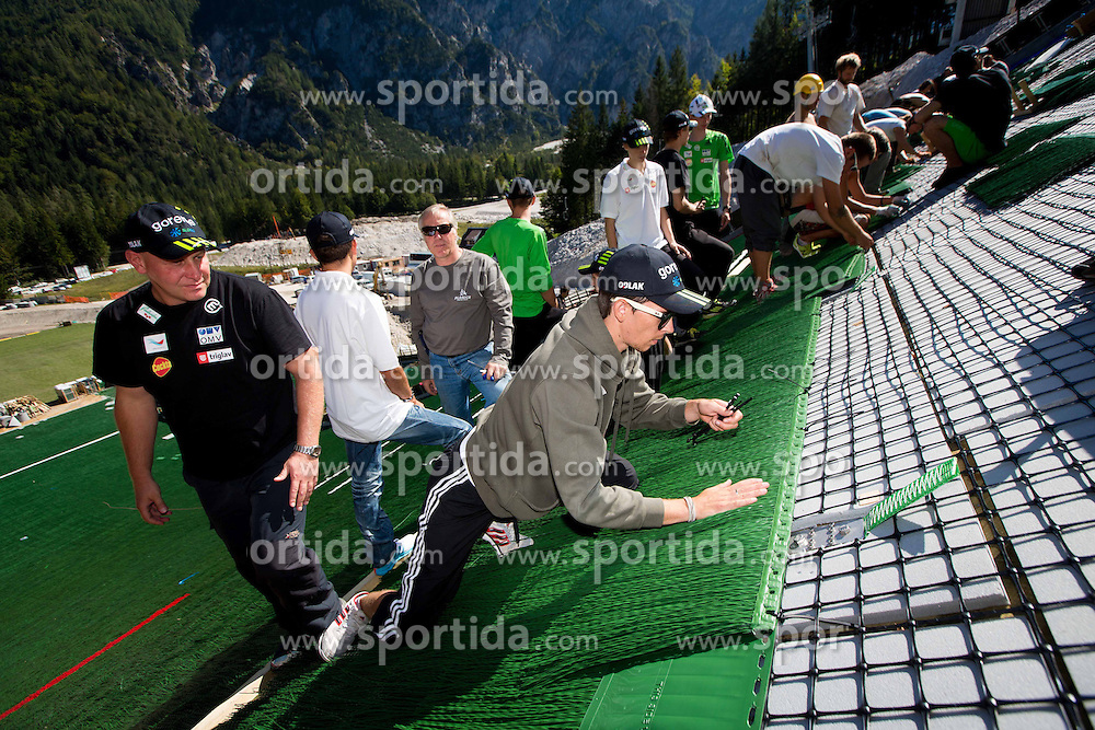 Goran Janus, Jure Sinkovec at media day of Slovenian Ski jumping team during construction of two new ski jumping hills HS 135 and HS 105, on September 18, 2012 in Planica, Slovenia. (Photo By Vid Ponikvar / Sportida)