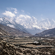 Looking up valley at Dingboche, Nepal and beyond toward Chukhung, Island Peak and Makalu