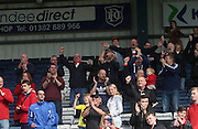 Hamilton Academical fans celebrate after their side guaranteed staying in the top division - Dundee v Hamilton Academical, Ladbrokes Scottish Premiership at Dens Park<br /> <br /> <br />  - &copy; David Young - www.davidyoungphoto.co.uk - email: davidyoungphoto@gmail.com