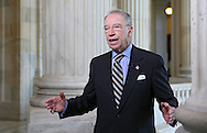 Senator Chuck Grassley (R-IA) talks during an interview on Fox Business Network in the Russell Senate Office Building rotunda in Washington, DC on Wednesday, April 10, 2013.