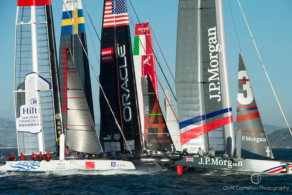 The start of the second fleet race of day four of the America's Cup World Series, San Francisco. 6/10/2012