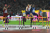 Athletics - 2017 IAAF London World Athletics Championships - Day Six<br /> <br /> Men's 400m hurdles Final<br /> <br /> Karsten Warholm of Norway jumps the last hurdle to win the Gold medal, at the London Stadium.<br /> <br /> COLORSPORT/ANDREW COWIE