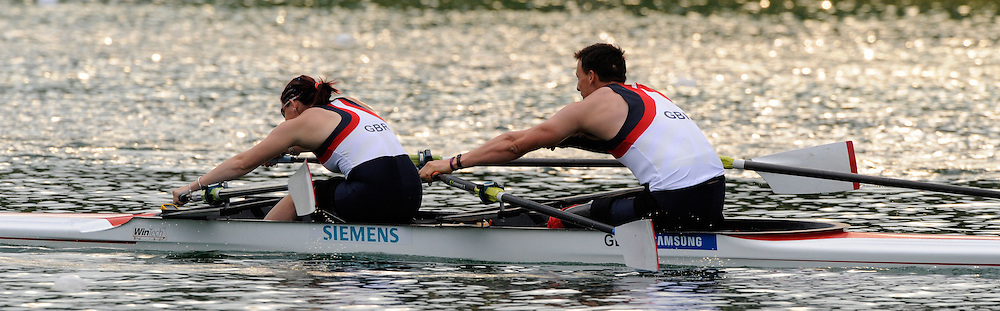 Munich, GERMANY, Adaptive Rowing,   Adaptive Heats GBR TAMix2x.  bow. Nick BEIGHTON and Sam SCOWEN FISA world Cup Rd 1. Munich Olympic Rowing Course,  Thursday  26/05/2011  [Mandatory Credit Peter Spurrier/ Intersport Images]