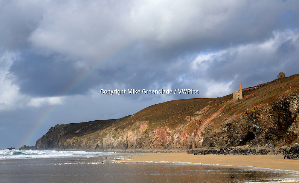 Towanroath engine house from Chapel Porth beach, St Agnes, Cornwall, UK