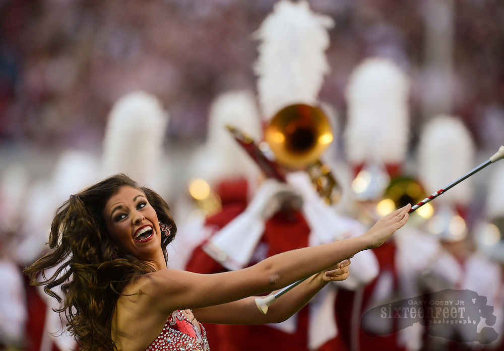 Decatur Daily/Gary Cosby Jr.    Crimsonette Megan Smith from Hartselle performs with the Million Dollar Band before the  Alabama and Arkansas's SEC football game in Bryant Denny Stadium in Tuscaloosa.