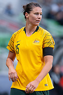 MELBOURNE, VIC - MARCH 06: Emily Gielnik (15) of Australia looks on prior to a corner kick during The Cup of Nations womens soccer match between Australia and Argentina on March 06, 2019 at AAMI Park, VIC. (Photo by Speed Media/Icon Sportswire)