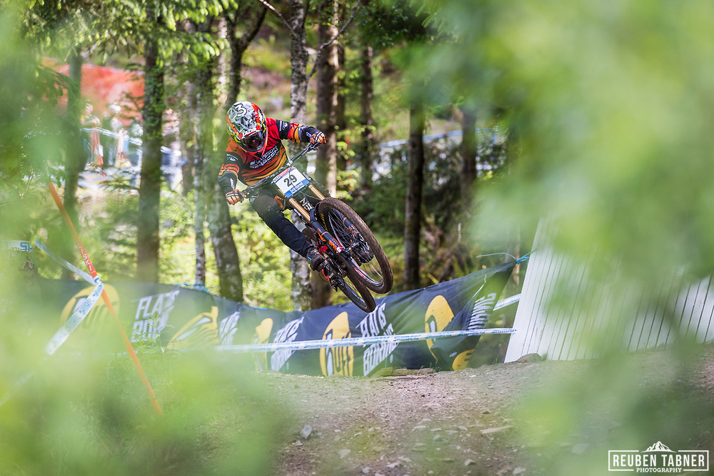 Alex Marin during his race run at the UCI Mountain Bike World Cup in Fort William.