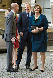 Tony and Cherie Blair arrive for the wedding of Wikipedia founder Jimmy Wales to Tony Blair's former diary secretary, Kate Garvey at Wesley's Chapel, City of London, October 6, 2012. Photo by Fiona Hanson / i-Images.