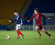 10th November 2017, McDiarmid Park, Perth, Scotland, UEFA Under-21 European Championships Qualifier, Scotland versus Latvia; Latvia's Eduards Emsis chases Scotland's Lewis Morgan