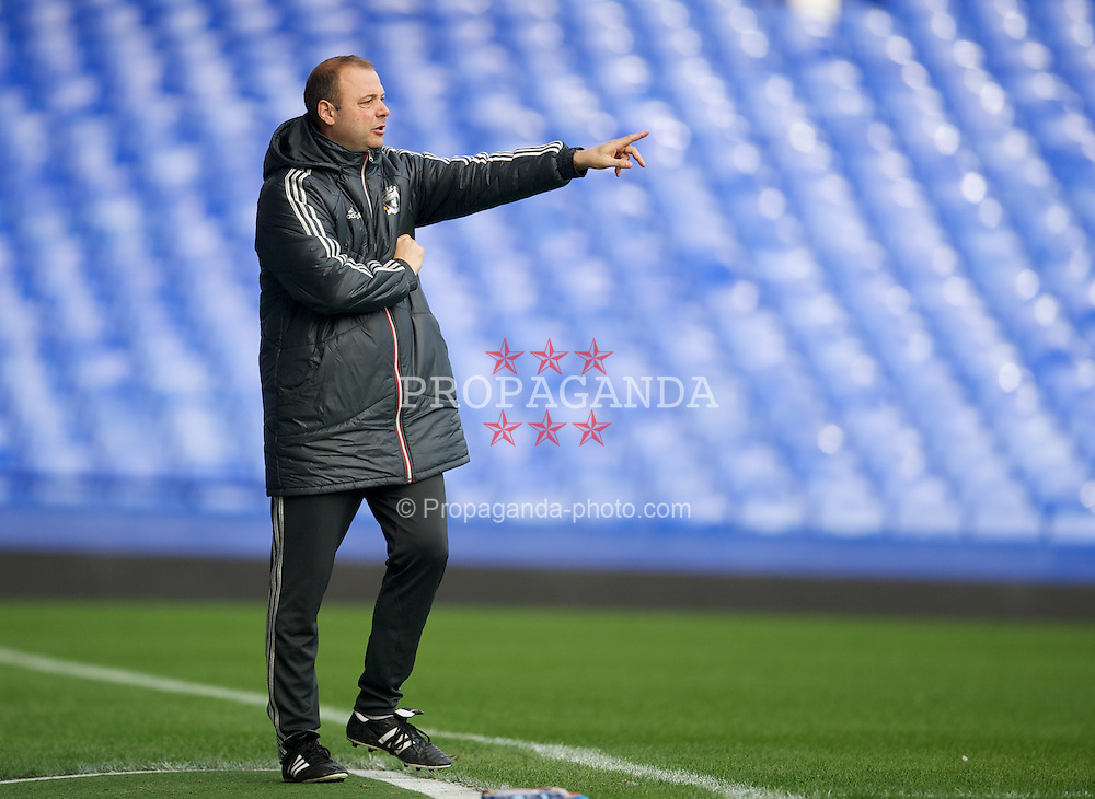 LIVERPOOL, ENGLAND - Tuesday, March 6, 2012: Liverpool's reserve team head coach Rodolfo Borrell during the FA Premier Reserve League match against Everton at Goodison Park. (Pic by David Rawcliffe/Propaganda)