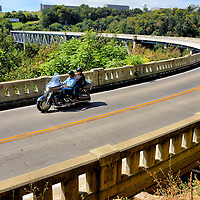 Motorcycling Couple on Jo Blackburn Bridge in Lawrenceburg, Kentucky<br />