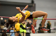Feb 24, 2017; Seattle, WA, USA; Riley Cooks of Long Beach State clears 5-5 3/4 (1.67m) in the pentathlon high jump during the MPSF Indoor Championships at the Dempsey Indoor.
