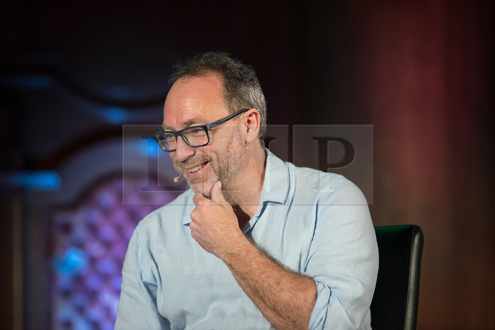 "© Licensed to London News Pictures. 05/07/2017. London, UK. Wikipedia founder JIMMY WALES in conversation with comedian Stewart Lee at the Emmanuel Centre in Westminster . The event , titled "" Heroes "" and organised by the School of Life , sees a guest interviewer (Wales) select and interviews someone whose work they admire (Lee) . Stewart Lee is currently touring his Content Provider show and Jimmy Wales is in the process of setting up news website WikiTribune . Photo credit: Joel Goodman/LNP"