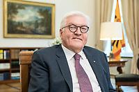 02 JUL 2018, BERLIN/GERMANY:<br /> Frank-Walter Steinmeier, Bundespraesident, waehrend einem Interview, Amtszimmer des Bundespraesidenten, Schloss Bellevue<br /> IMAGE: 20180702-01-021<br /> KEYWORDS: Bundespräsident, freundlich