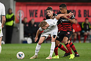 SYDNEY, AUSTRALIA - JULY 20: Leeds United midfielder Mateusz Bogusz (58) is held off the ball during the club friendly football match between Leeds United and Western Sydney Wanderers FC on July 20, 2019 at Bankwest Stadium in Sydney, Australia. (Photo by Speed Media/Icon Sportswire)
