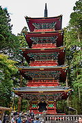 "5 story pagoda. Toshogu Shrine is the final resting place of Tokugawa Ieyasu, the founder of the Tokugawa Shogunate that ruled Japan for over 250 years until 1868. Ieyasu is enshrined at Toshogu as the deity Tosho Daigongen, ""Great Deity of the East Shining Light"". Initially a relatively simple mausoleum, Toshogu was enlarged into the spectacular complex seen today by Ieyasu's grandson Iemitsu during the first half of the 1600s. The lavishly decorated shrine complex consists of more than a dozen buildings set in a beautiful forest. Countless wood carvings and large amounts of gold leaf were used to decorate the buildings in a way not seen elsewhere in Japan. Toshogu contains both Shinto and Buddhist elements, as was common until the Meiji Period when Shinto was deliberately separated from Buddhism. Toshogu is part of Shrines and Temples of Nikko UNESCO World Heritage site."