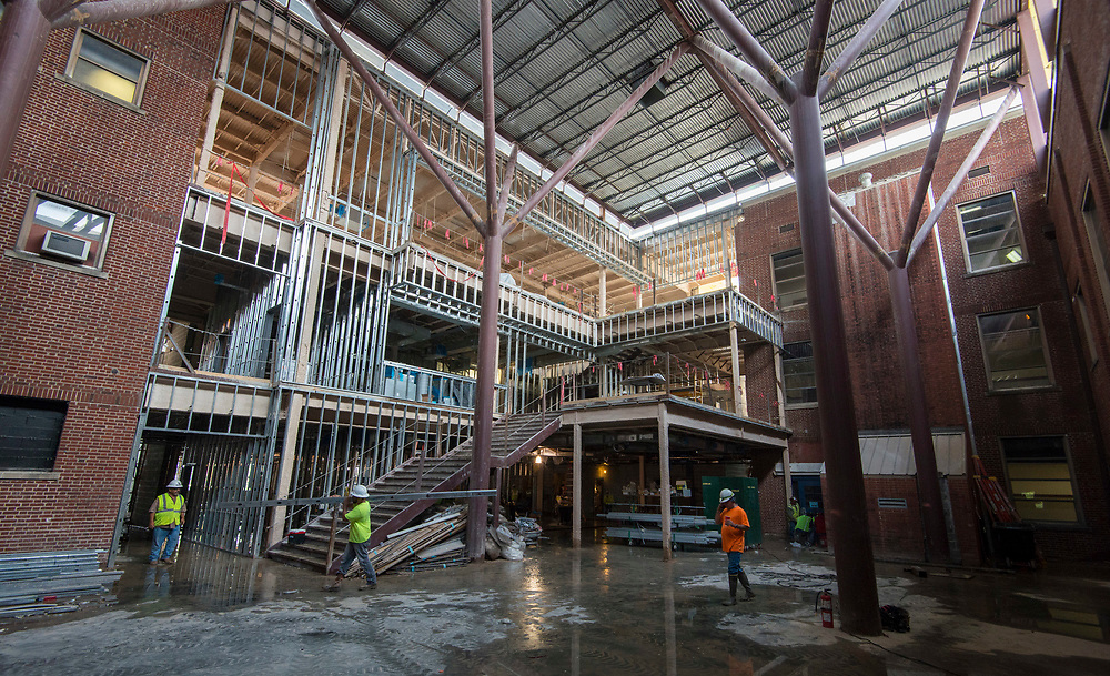 Construction at Young Women's College Preparatory Academy, April 12, 2017.