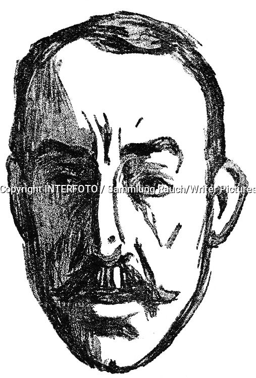 Henry van der Velde<br /> Velde, Henry van de, 3.4.1863 - 27.10.1957, Belgian architect, painter, graphic artist and fine arts author / writer, portrait, drawing by Edvard Munch, 1906,<br /> <br /> Photograph by INTERFOTO / Sammlung Rauch/Writer Pictures<br /> <br /> UK RIGHTS ONLY - NO AGENCY SALES UK RIGHTS ONLY / NO FOREIGN SALES / NO FOREIGN AGENT SALES