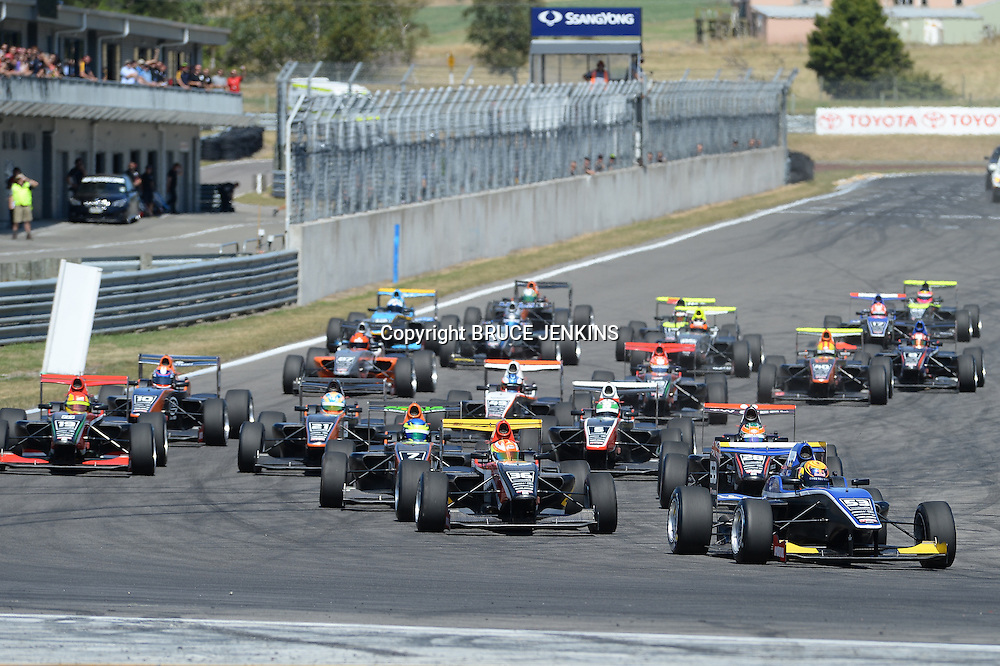 Callum Ilott from UK leads the field in the feature race at the Taupo round of the TRS season on Sunday 8 Feb 2015