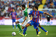 VALENCIA, SPAIN - JUNE 01: (L) Jorge Molina of Real Betis Balompie being fouled by (R) Hector Rodas of Levante UD during the Liga BBVA between Levante UD and Real Betis Balompie at the Ciutat de Valencia stadium on June 01, 2013 in Valencia, Spain. (Photo by Aitor Alcalde Colomer).19