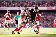 Arsenal defender Laurent Koscielny (6), Sevilla forward Joaquin Correa (11) during the Emirates Cup 2017 match between Arsenal and Sevilla at the Emirates Stadium, London, England on 30 July 2017. Photo by Sebastian Frej.