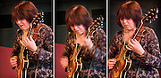 A series of three images of Deirdre Cartwright playing her Epiphone Casino which I called 'Guitar Riff' at a Gig at the Frontroom of the Queen Elizabeth Hall, London.