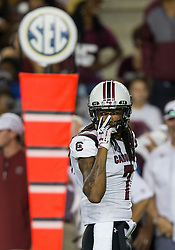 South Carolina defensive back JaMarcus King (7) communicates with a teammate before a play during the second quarter of an NCAA college football game against Texas A&M Saturday, Sept. 30, 2017, in College Station, Texas. (AP Photo/Sam Craft)