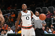 December 6, 2016: Ja'Quan Newton #0 of Miami in action during the NCAA basketball game between the Miami Hurricanes and the South Carolina State Bulldogs in Coral Gables, Florida. The 'Canes defeated the Bulldogs 82-46.