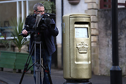 Media film the gold post box in Andy Murray's home town of Dunblane, he has said he is aiming to end his career after Wimbledon but the Australian Open may be his last tournament.